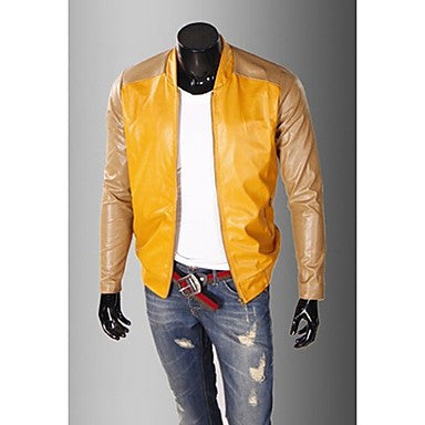 Men's Classical Splicing PU Jacket