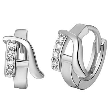 "Gifr for Boyfriend High Quality Silver Plated Letter ""A"" Men's Stud Earrings(1 pr)"