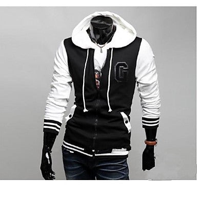 Men's Fashion With A Hood Slim Baseball Jacket Coat