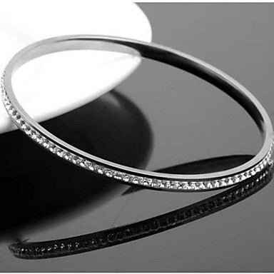 Men's Fashion Personality Titanium Steel Single Row Diamond Bracelets