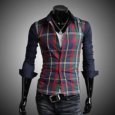 Men's Casual Long Sleeve Slim Shirt