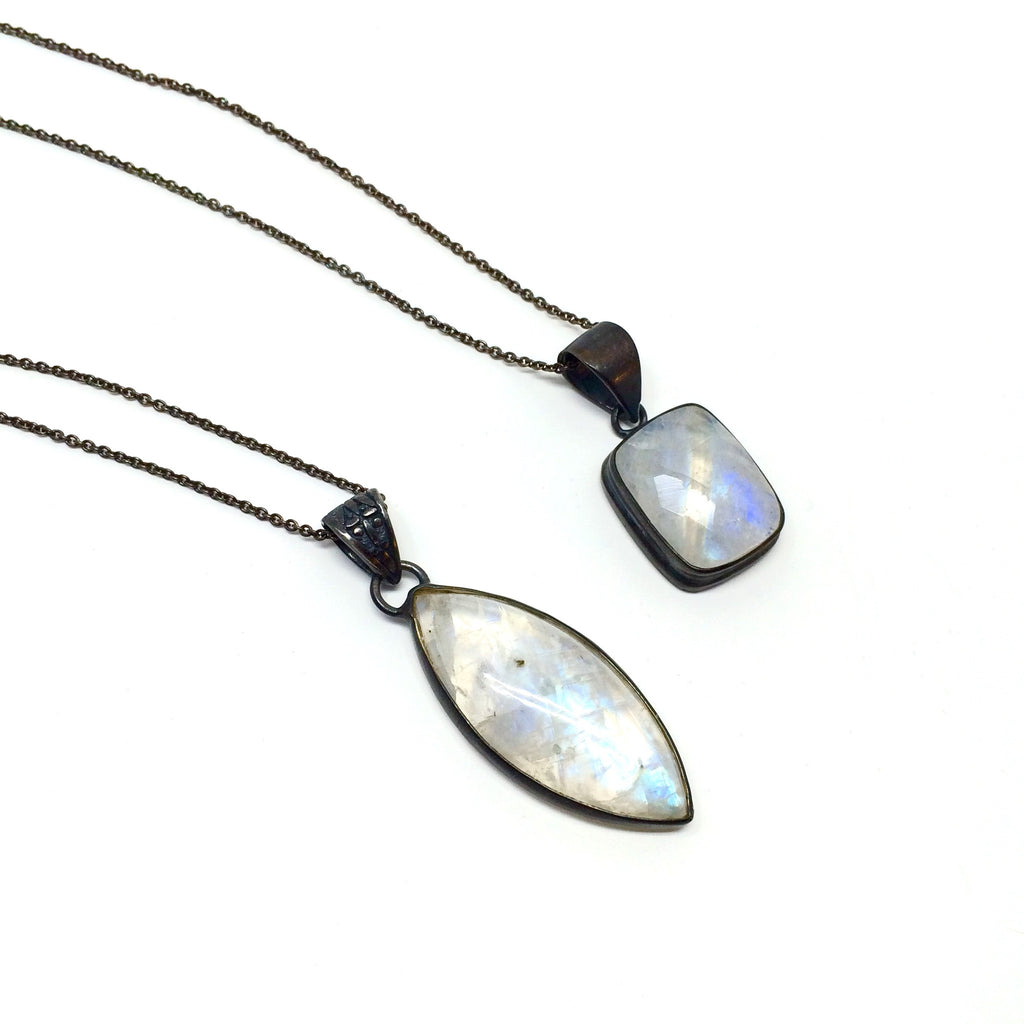 Oxidized Silver Moonstone Necklaces