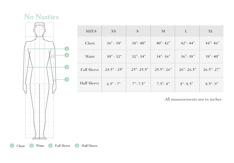no nasties size chart men