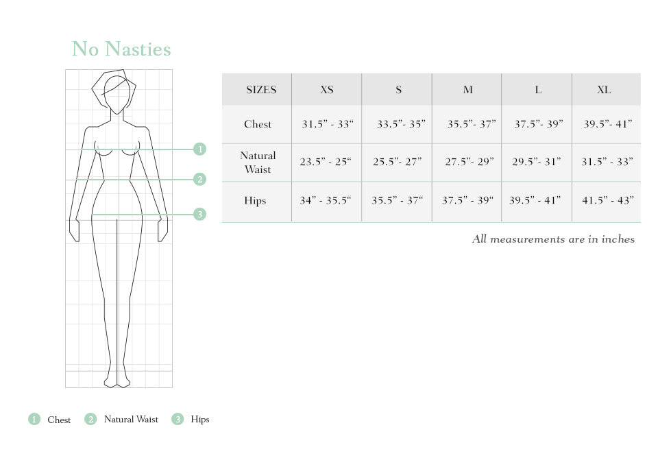 No nasties size chart