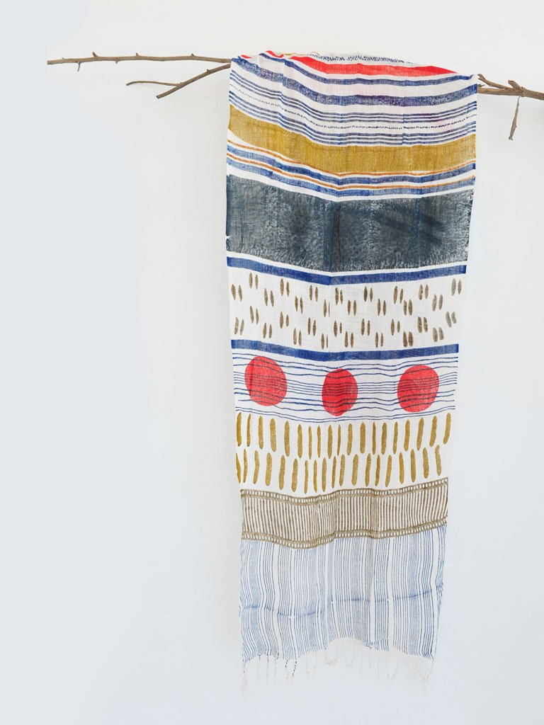 Handmade block printed cotton scarf