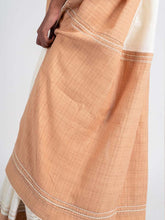 Load image into Gallery viewer, Textured Ivory & Beige Saree+Peticot