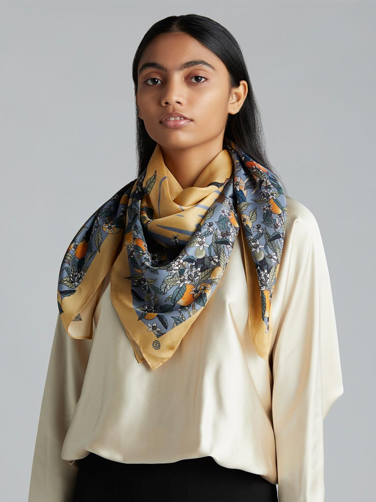 'Evening at the Orchard' Silk Scarf