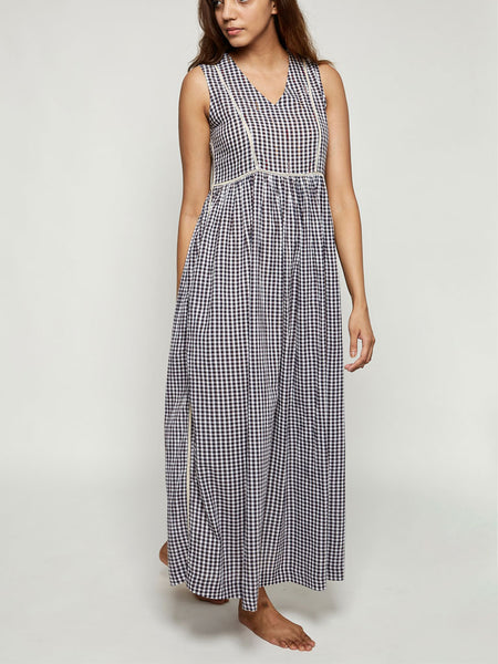 'Madras' Long Sleeveless Cotton Madras Checks Dress