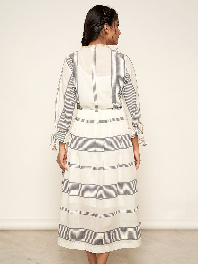 'Madras' Off-white Striped Dress