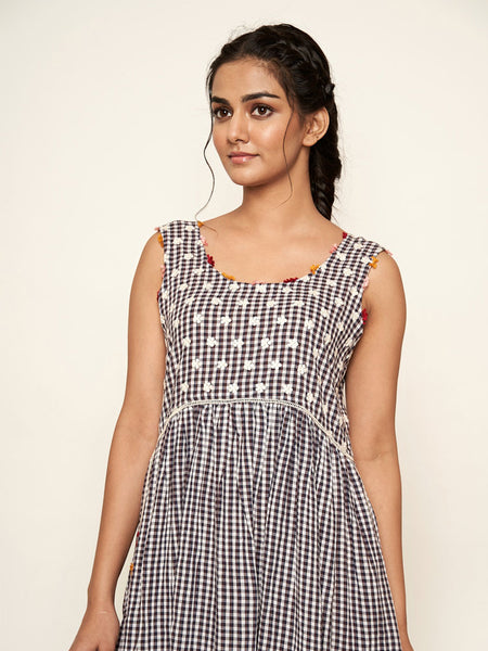 'Madras' Sleeveless Cotton Checks Dress