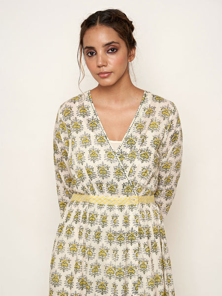 'Amer' Mughal hand block printed cotton dress