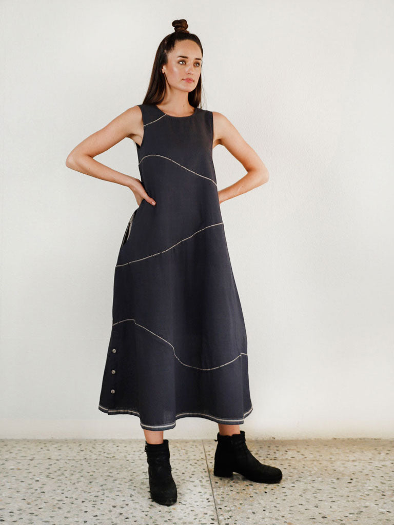 Charcoal Waves Maxi Dress