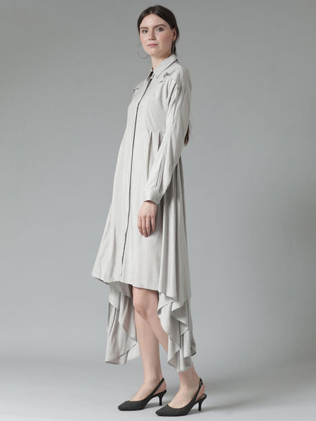 Shirt dress with pleat detailing on the sides