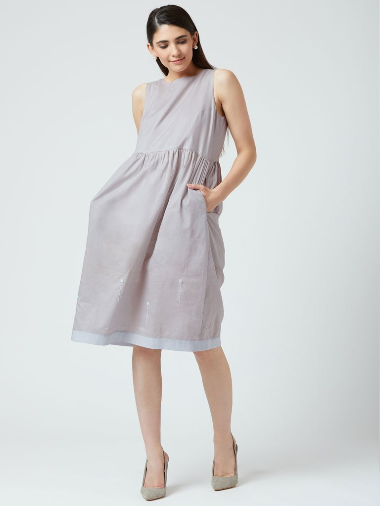 Angela Embroidered Grey Dress-DRESSES-IKKIVI