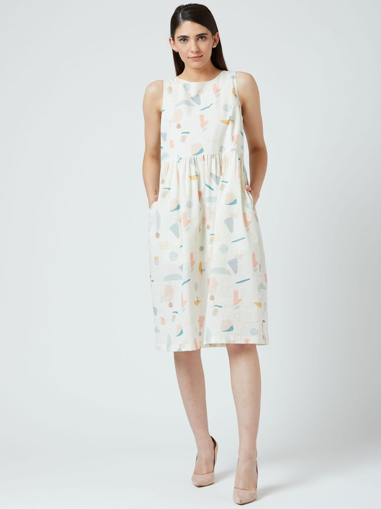 Bright printed knee-length Dress with back overlap detail