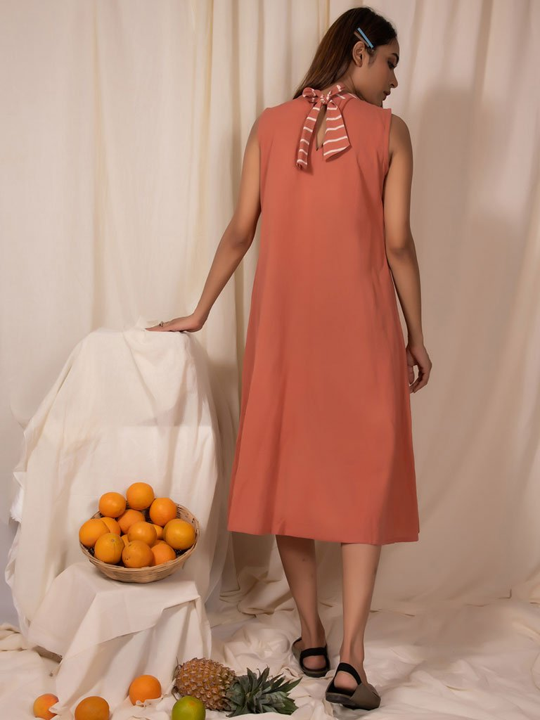 Apricot Band Neck Dress-DRESSES-IKKIVI