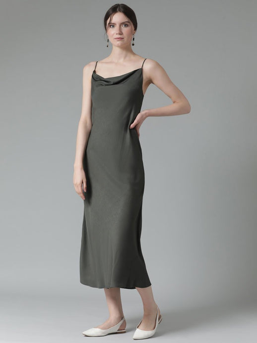 Tencel fabric  cowl neck slinky slip dress