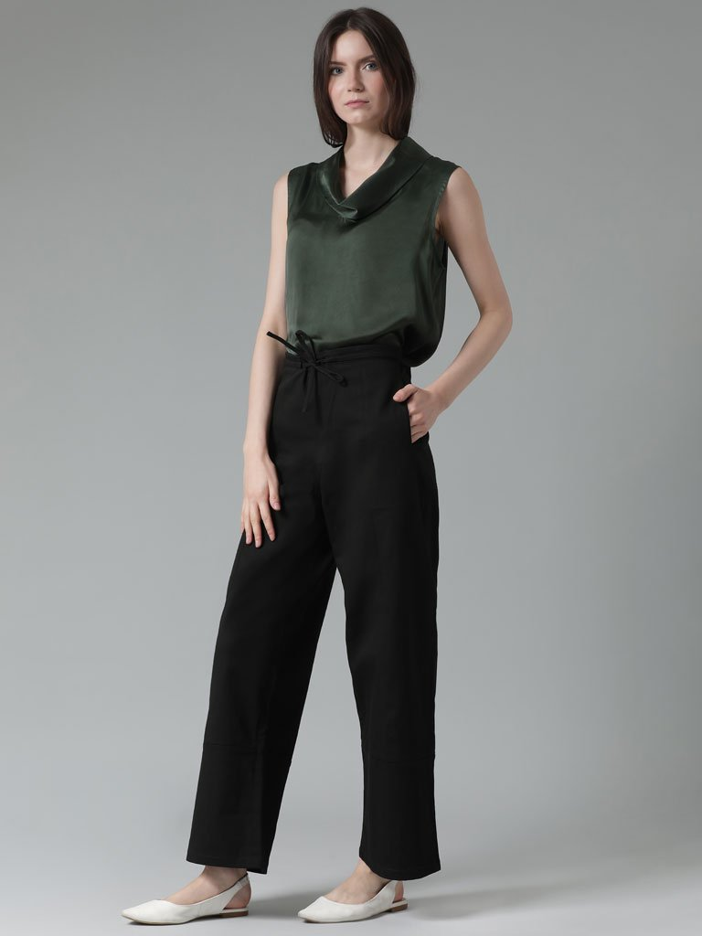 Soft organic cotton straight leg trousers
