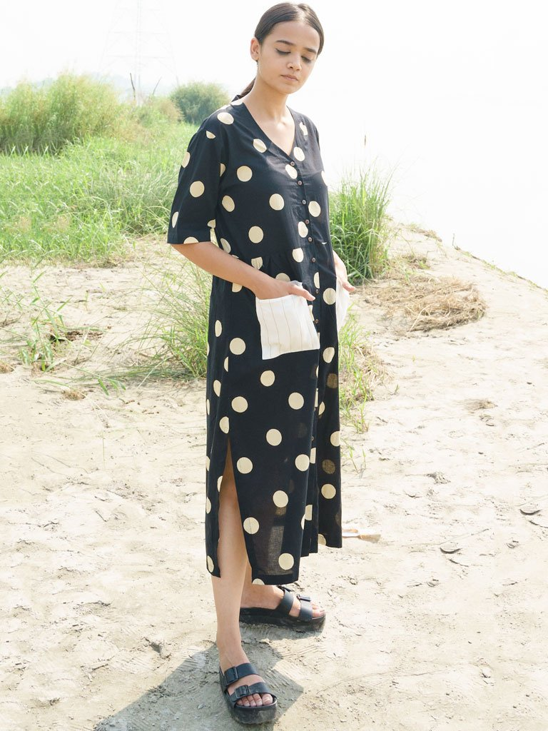 Black And Beige Polka Dress-DRESSES-IKKIVI