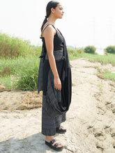 Load image into Gallery viewer, Black Drape Pant Saree-SKIRTS & TROUSERS-IKKIVI