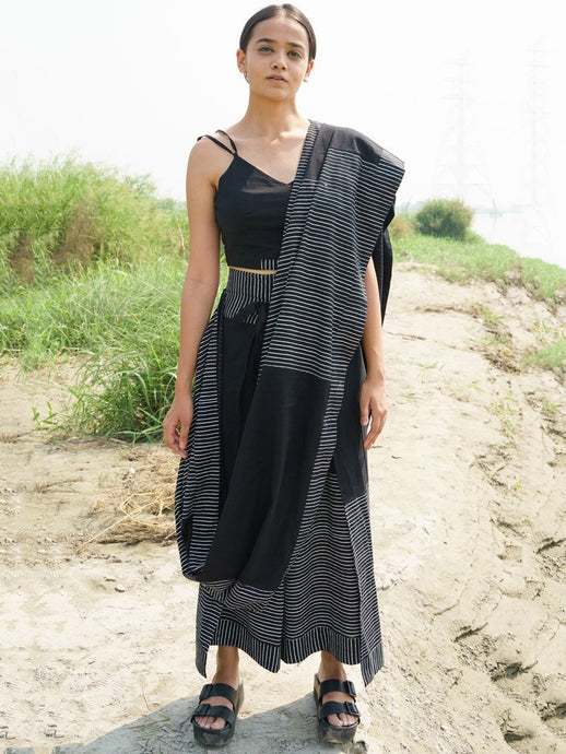 Black Drape Pant Saree-SKIRTS & TROUSERS-IKKIVI