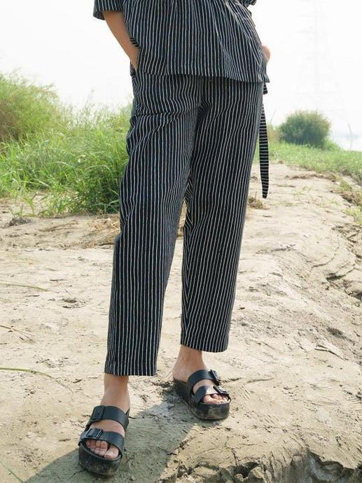 Black Stripe Pants-SKIRTS & TROUSERS-IKKIVI