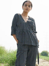 Load image into Gallery viewer, Black Stripe Wrap Top-TOPS-IKKIVI