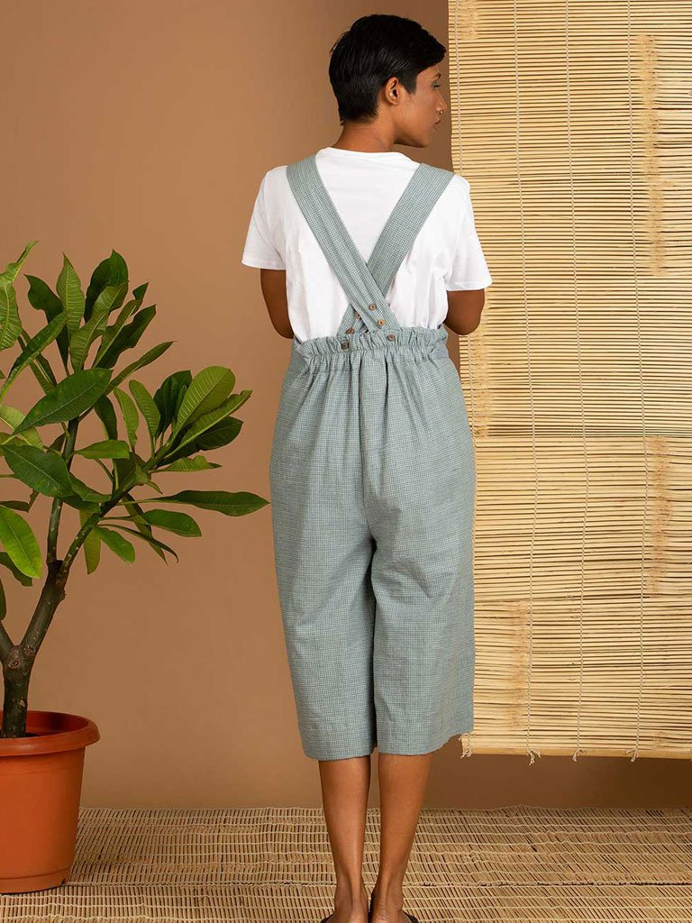 Blue Check Dungarees back