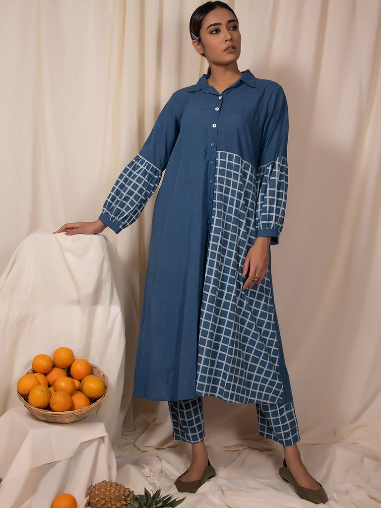 Blue Skies Kurta and Pants Set-DRESSES-IKKIVI