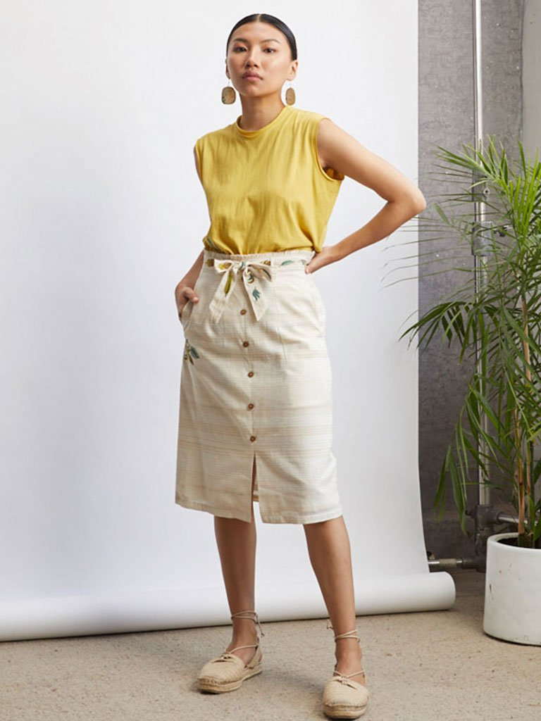 Breezy Belted Skirt-BOTTOMS-IKKIVI