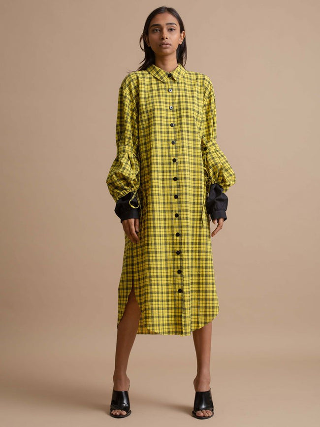 Checkered Sleeve Dress-TOPS-IKKIVI