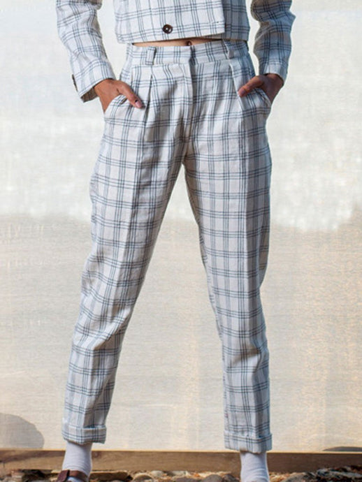 Checkered Trousers-BOTTOMS-IKKIVI