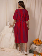 Load image into Gallery viewer, Cherry Blue Draw-waist Dress-DRESSES-IKKIVI