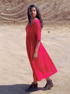 Crimson Cutwork Dress-DRESSES-IKKIVI