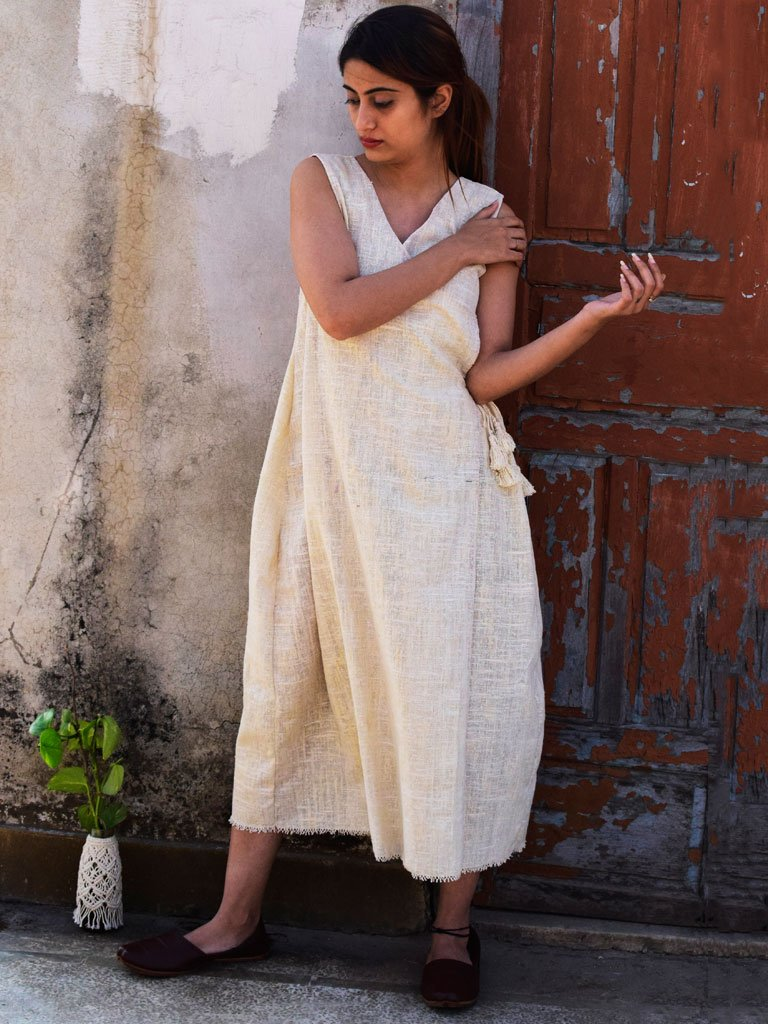 Sleeveless overlap dress cut from handspun and handwoven cotton