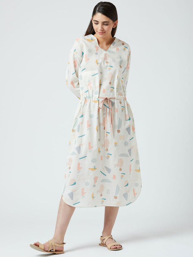 Printed dress with front tie detail and side pockets