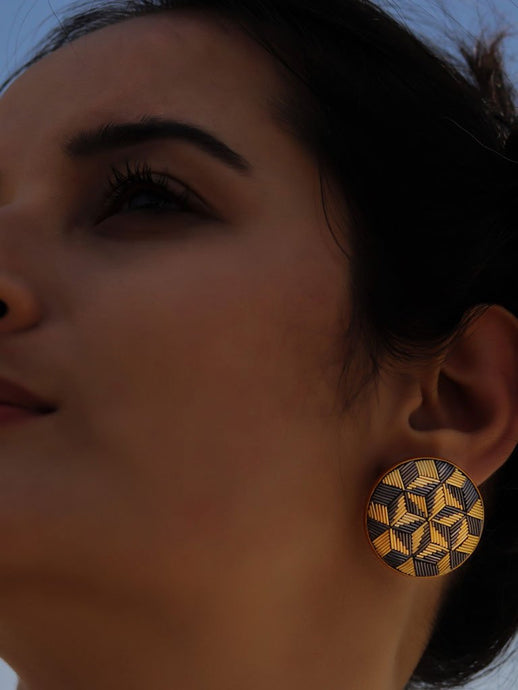 Golden Symmetry Earrings-JEWELLERY-IKKIVI
