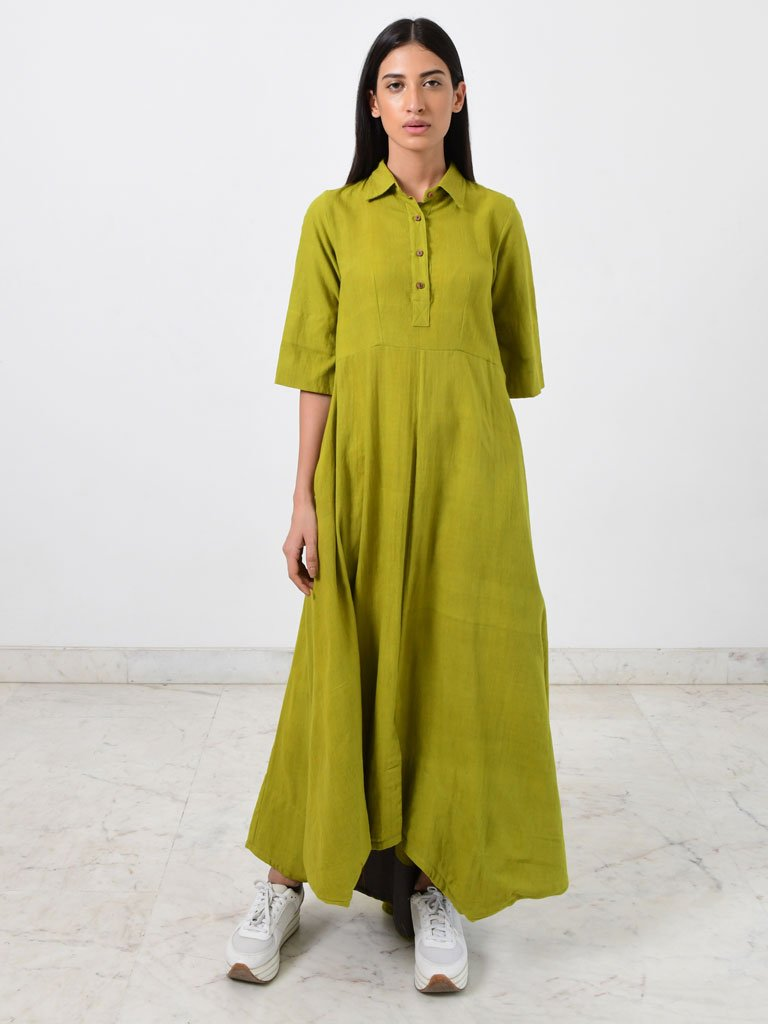 Green Collar Jumpy-DRESSES-IKKIVI