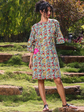 Load image into Gallery viewer, Green floral print dress with slit sleeve detail