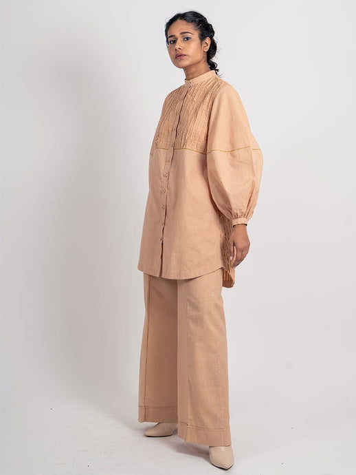 Half Stripped Textured Long Shirt-TOPS-IKKIVI