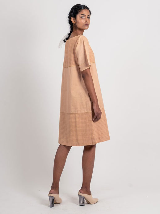 Half Textured Half Plain Dress-DRESSES-IKKIVI
