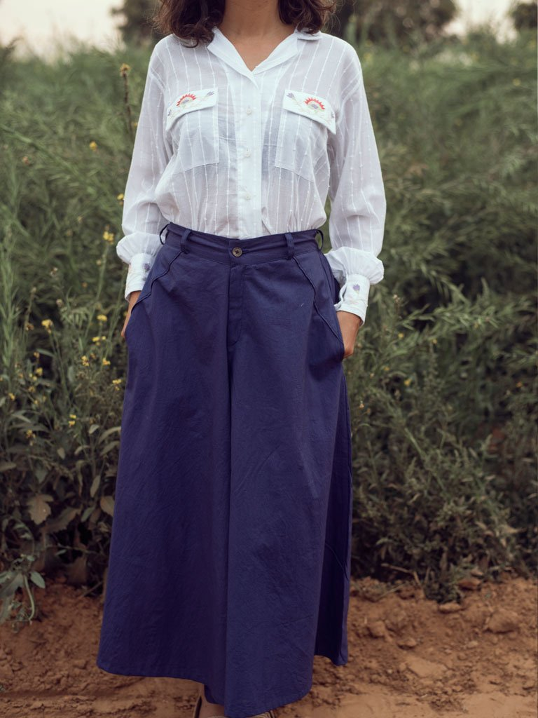 Ink Blue Culottes-SKIRTS & TROUSERS-IKKIVI