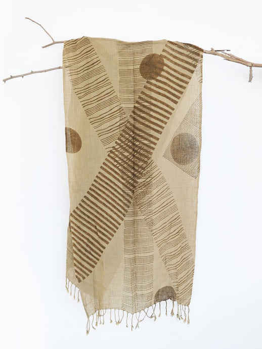 Khaki Overstriped Scarf-ACCESSORIES-IKKIVI