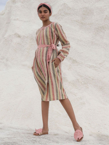 Kala cotton naturally dyed and handwoven striped pattern dress