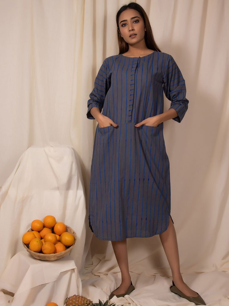Lake Blue Straight Tunic-TOPS-IKKIVI