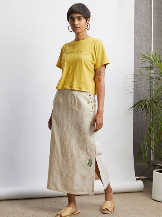 Leafy Maxi Skirt-BOTTOMS-IKKIVI