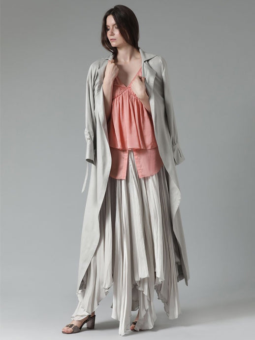 Versatile tencel trench coat with waterfall detail