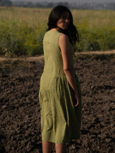 Load image into Gallery viewer, Moss Green Khadi Dress-DRESSES-IKKIVI