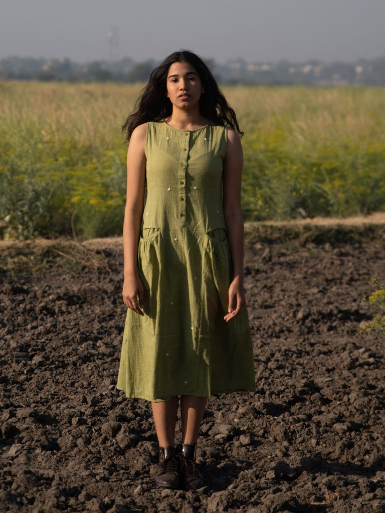 Moss Green Khadi Dress-DRESSES-IKKIVI