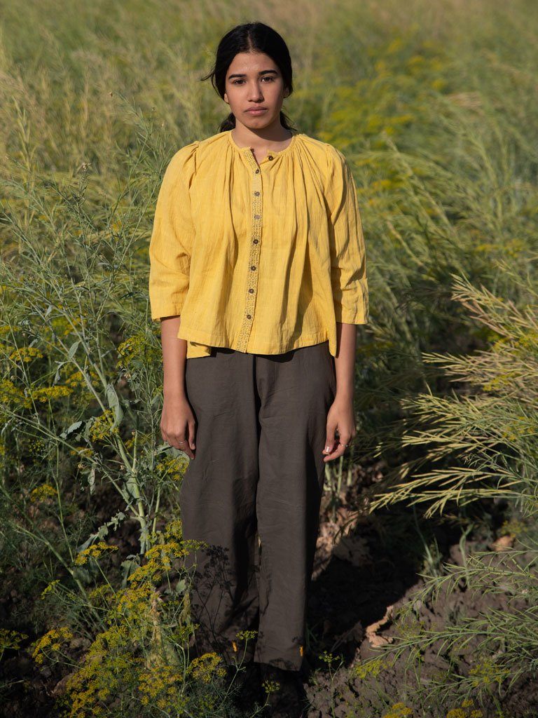 Mustard Gathered Top-TOPS-IKKIVI